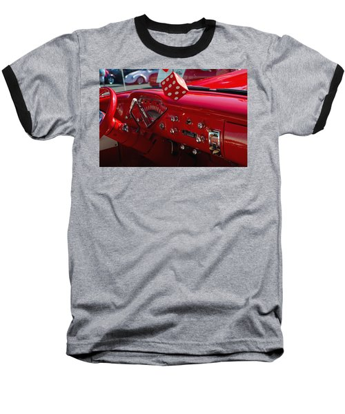 Baseball T-Shirt featuring the photograph Old Red Chevy Dash by Tikvah's Hope