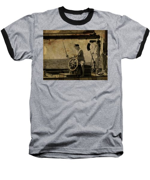 old sailor A vintage processed photo of a sailor sitted behind the rudder in Mediterranean sailing Baseball T-Shirt