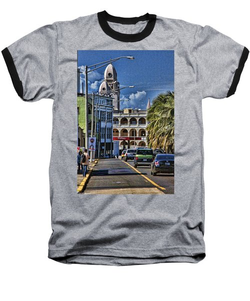 Old San Juan Cityscape Baseball T-Shirt by Daniel Sheldon