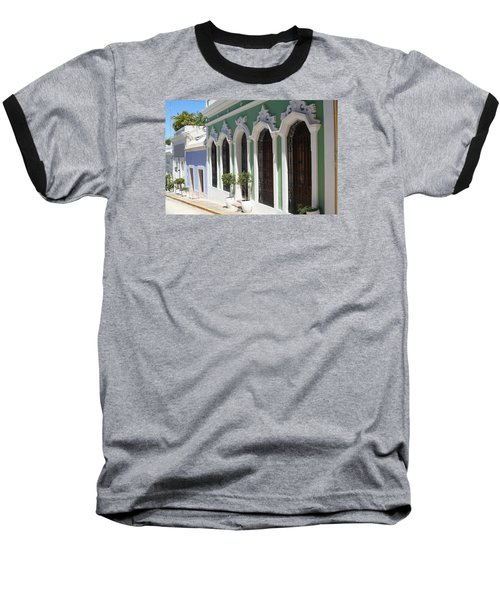 Old San Juan Street Baseball T-Shirt by The Art of Alice Terrill
