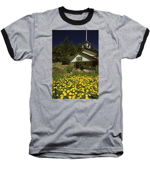 Old Schoolhouse And Garden. Baseball T-Shirt