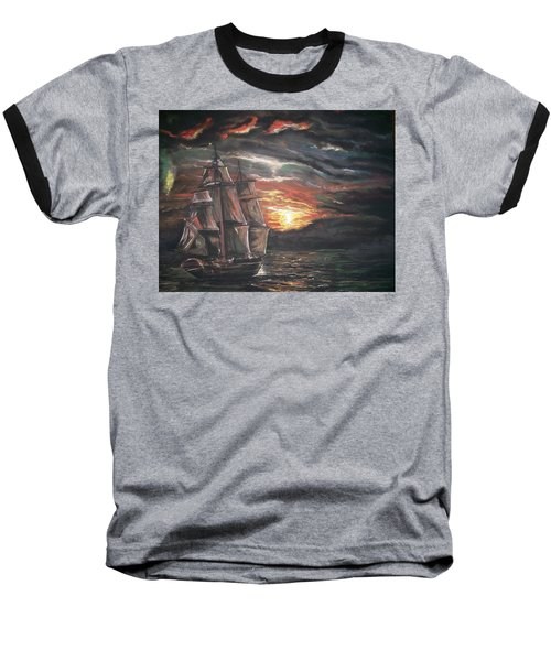Baseball T-Shirt featuring the pastel Old Ship Of The Sea by Peter Suhocke
