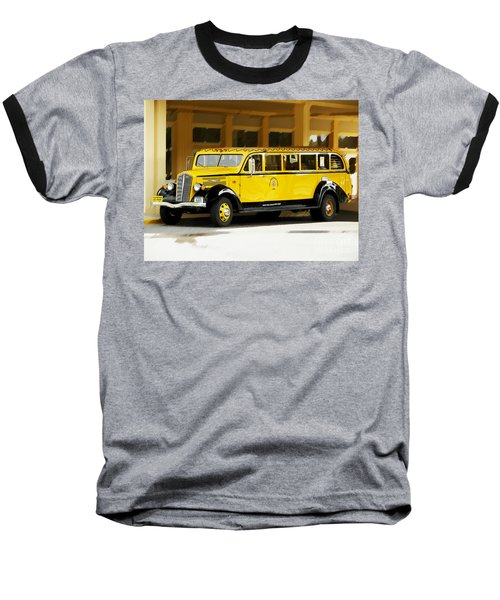 Old Time Yellowstone Bus Baseball T-Shirt