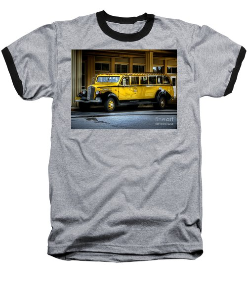 Old Time Yellowstone Bus II Baseball T-Shirt