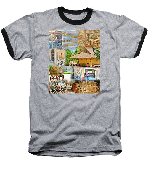 Old West Collage Baseball T-Shirt by Marilyn Diaz