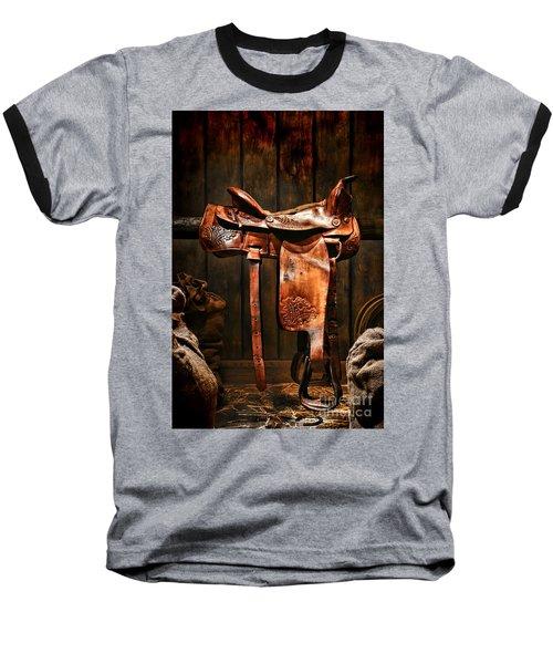Old Western Saddle Baseball T-Shirt