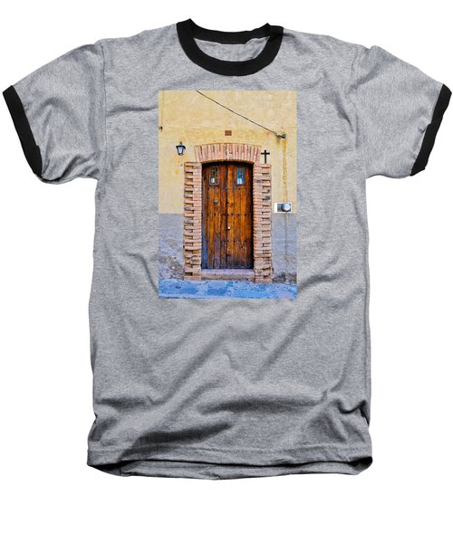 Old Wooden Door - Mexico - Photograph By David Perry Lawrence Baseball T-Shirt