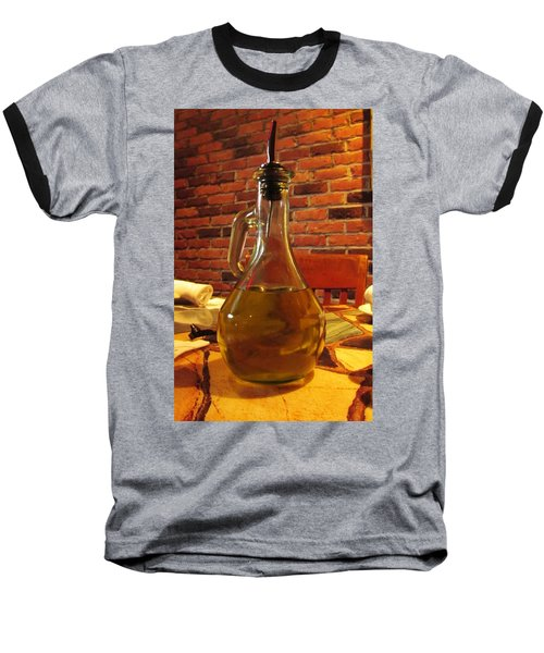 Baseball T-Shirt featuring the photograph Olive Oil On Table by Cynthia Guinn