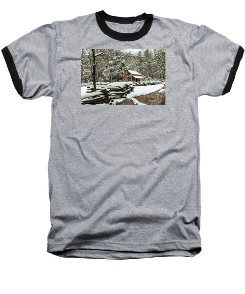 Baseball T-Shirt featuring the photograph Oliver's Log Cabin Nestled In Snow by Debbie Green
