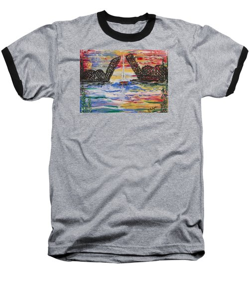 On The Hour. The Sailboat And The Steel Bridge Baseball T-Shirt by Andrew J Andropolis