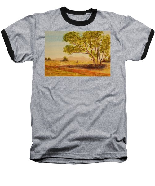 Baseball T-Shirt featuring the painting On The Road To Broken Hill Nsw Australia by Tim Mullaney