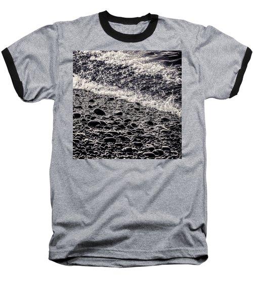 On The Rocks  French Beach Square Baseball T-Shirt by Roxy Hurtubise