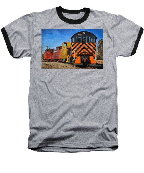 Baseball T-Shirt featuring the photograph On The Tracks by Peggy Hughes
