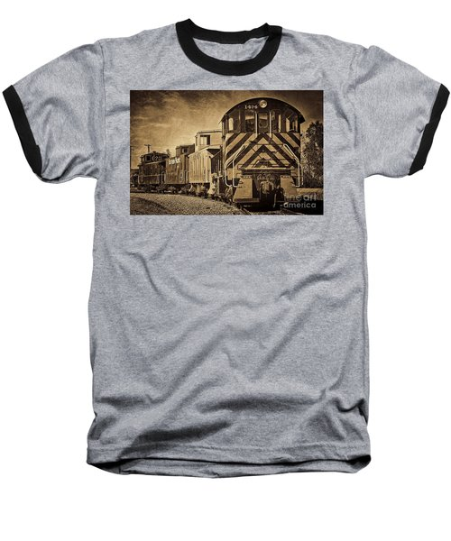 Baseball T-Shirt featuring the photograph On The Tracks... Take Two. by Peggy Hughes