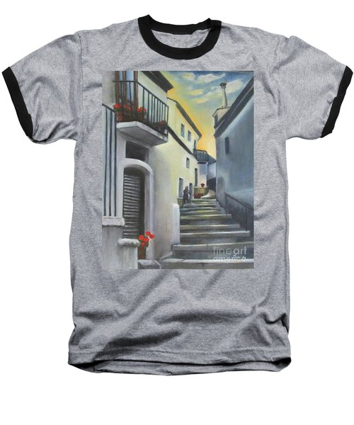 Baseball T-Shirt featuring the painting On The Way To Mamma's House In Castelluccio Italy by Lucia Grilletto