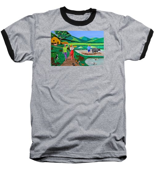 Baseball T-Shirt featuring the painting One Beautiful Morning In The Farm by Cyril Maza