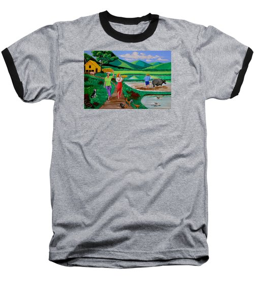 One Beautiful Morning In The Farm Baseball T-Shirt by Lorna Maza
