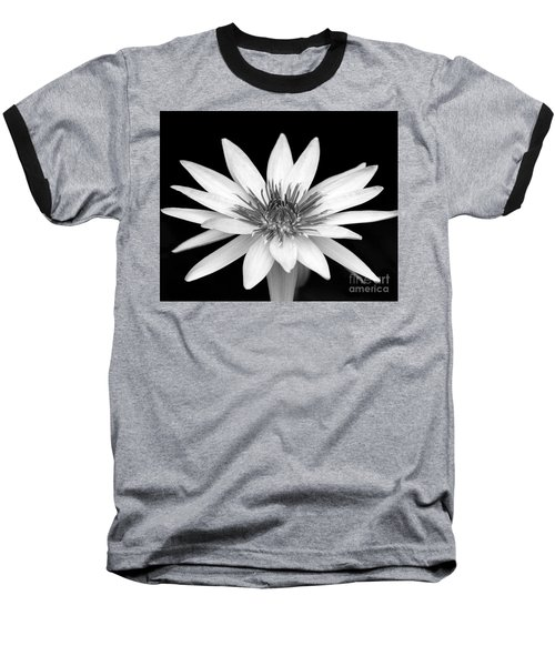One Black And White Water Lily Baseball T-Shirt