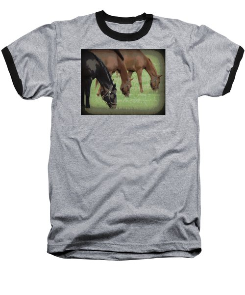 One Black Horse 1 Baseball T-Shirt