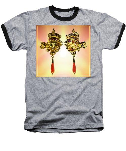 Baseball T-Shirt featuring the sculpture One Gold Sculpture Pendant by Hartmut Jager