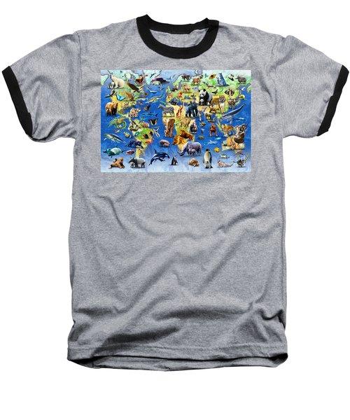 One Hundred Endangered Species Baseball T-Shirt by Adrian Chesterman