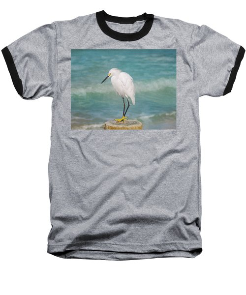 One With Nature - Snowy Egret Baseball T-Shirt