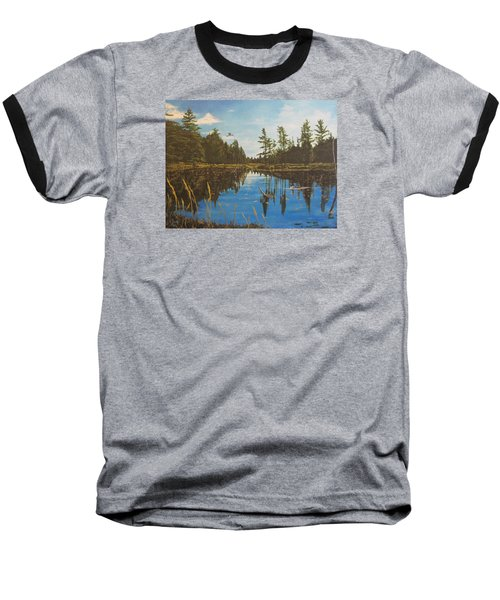Baseball T-Shirt featuring the painting O'neal Lake by Wendy Shoults