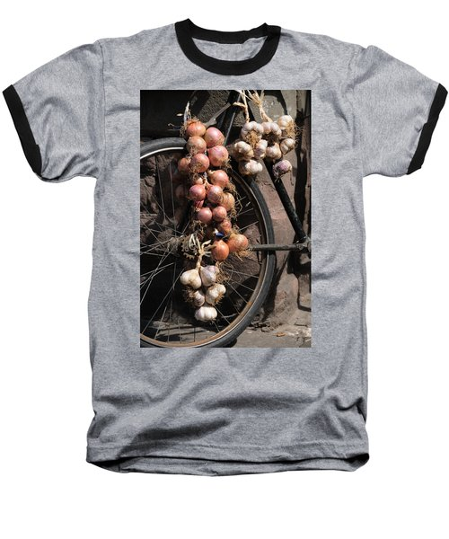 Onions And Garlic On Bike  Baseball T-Shirt by Jeremy Voisey