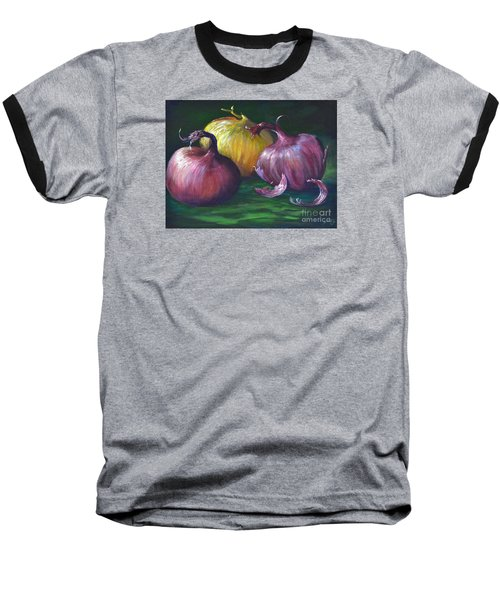 Baseball T-Shirt featuring the painting Onions by AnnaJo Vahle
