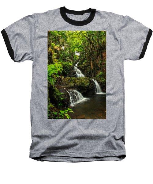 Onomea Falls Baseball T-Shirt by James Eddy
