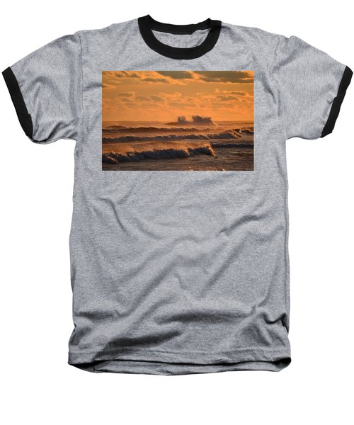 Opal Beach Sunset Colors With Huge Waves Baseball T-Shirt by Jeff at JSJ Photography