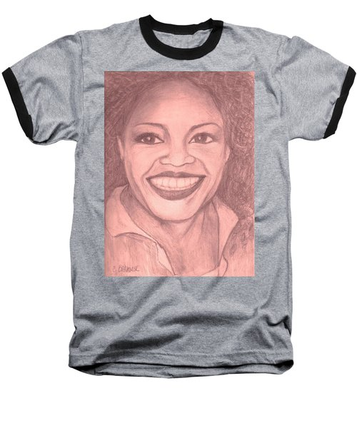 Baseball T-Shirt featuring the drawing Oprah by Christy Saunders Church