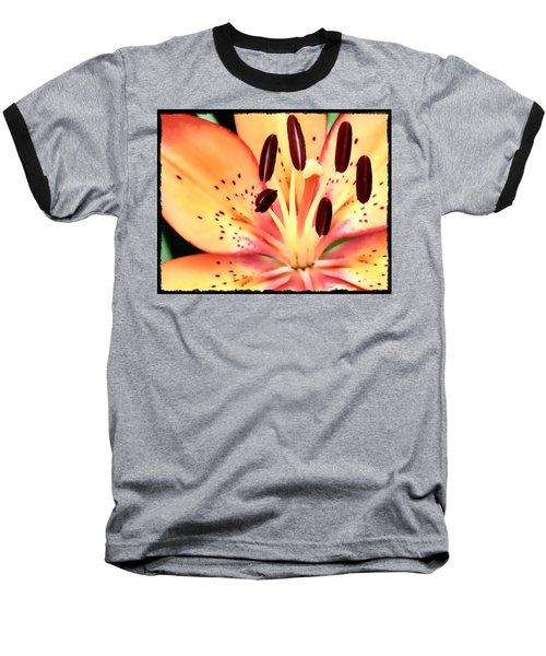 Orange And Pink Flower Baseball T-Shirt