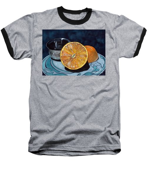 Baseball T-Shirt featuring the painting Orange And Silver by Barbara Jewell