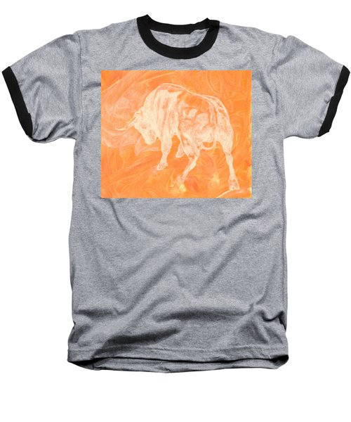 Orange Bull Negative Baseball T-Shirt