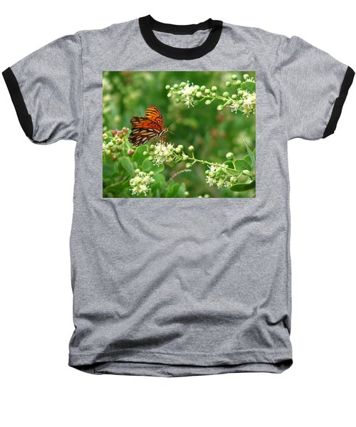 Baseball T-Shirt featuring the photograph Orange Butterfly by Marcia Socolik