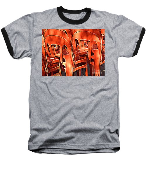 Orange Chairs Baseball T-Shirt by Valerie Reeves