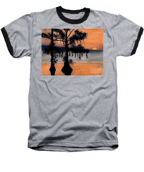 Baseball T-Shirt featuring the drawing Orange Cypress Sunset by D Hackett