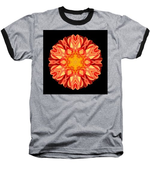 Orange Dahlia Flower Mandala Baseball T-Shirt by David J Bookbinder