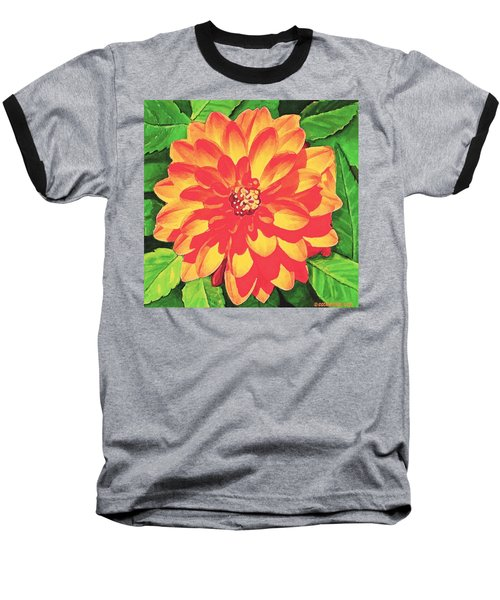 Baseball T-Shirt featuring the painting Orange Dahlia by Sophia Schmierer