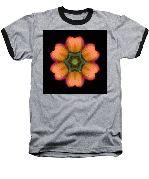 Orange Daylily Flower Mandala Baseball T-Shirt by David J Bookbinder