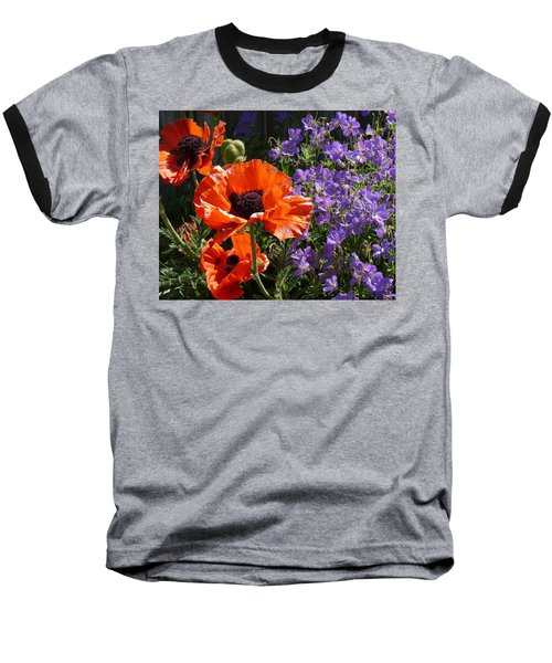 Orange Flowers Baseball T-Shirt