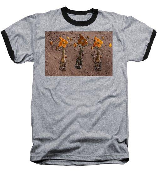 Orange Flowers Embedded In Adobe Baseball T-Shirt