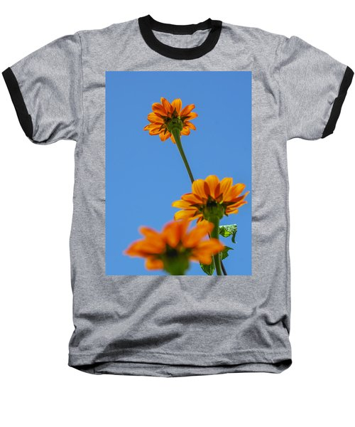 Baseball T-Shirt featuring the photograph Orange Flowers On Blue Sky by Debbie Karnes