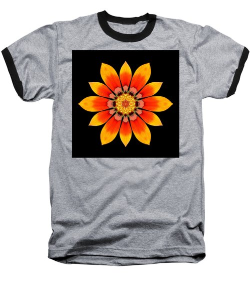 Orange Gazania I Flower Mandala Baseball T-Shirt by David J Bookbinder