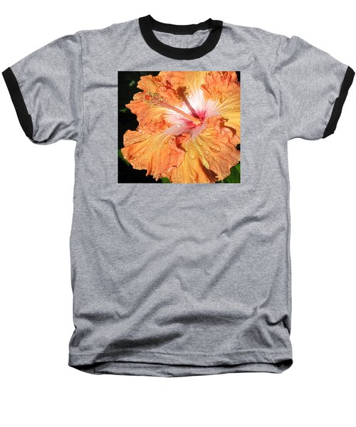 Baseball T-Shirt featuring the photograph Orange Hibiscus After The Rain by Connie Fox