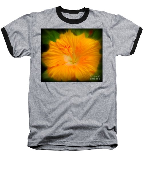 Baseball T-Shirt featuring the photograph Orange Hibiscus Flower by Clare Bevan