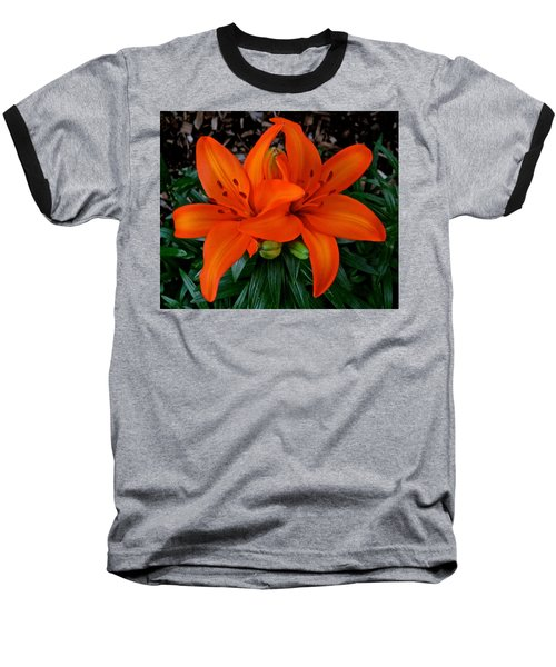 Orange Lilies Baseball T-Shirt