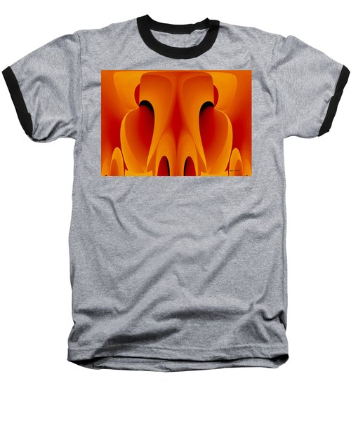 Baseball T-Shirt featuring the mixed media Orange Mask by Rafael Salazar