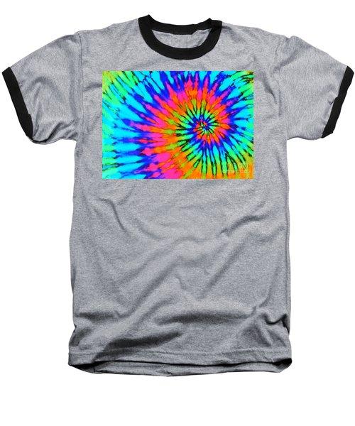 Orange Pink And Blue Tie Dye Spiral Baseball T-Shirt by Catherine Sherman